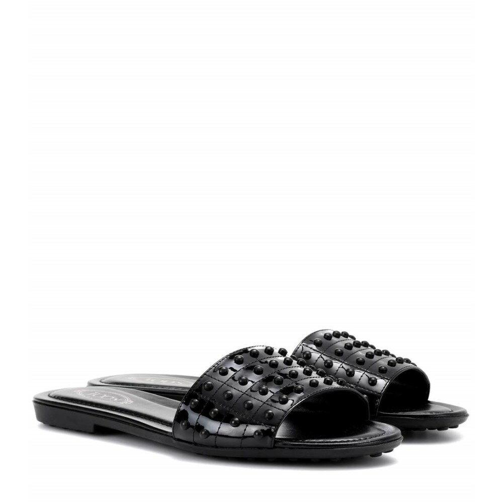 トッズ レディース シューズ・靴 サンダル・ミュール【Leather slides】black