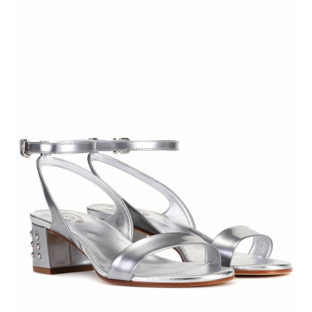 トッズ レディース シューズ・靴 サンダル・ミュール【Metallic leather sandals】Silver