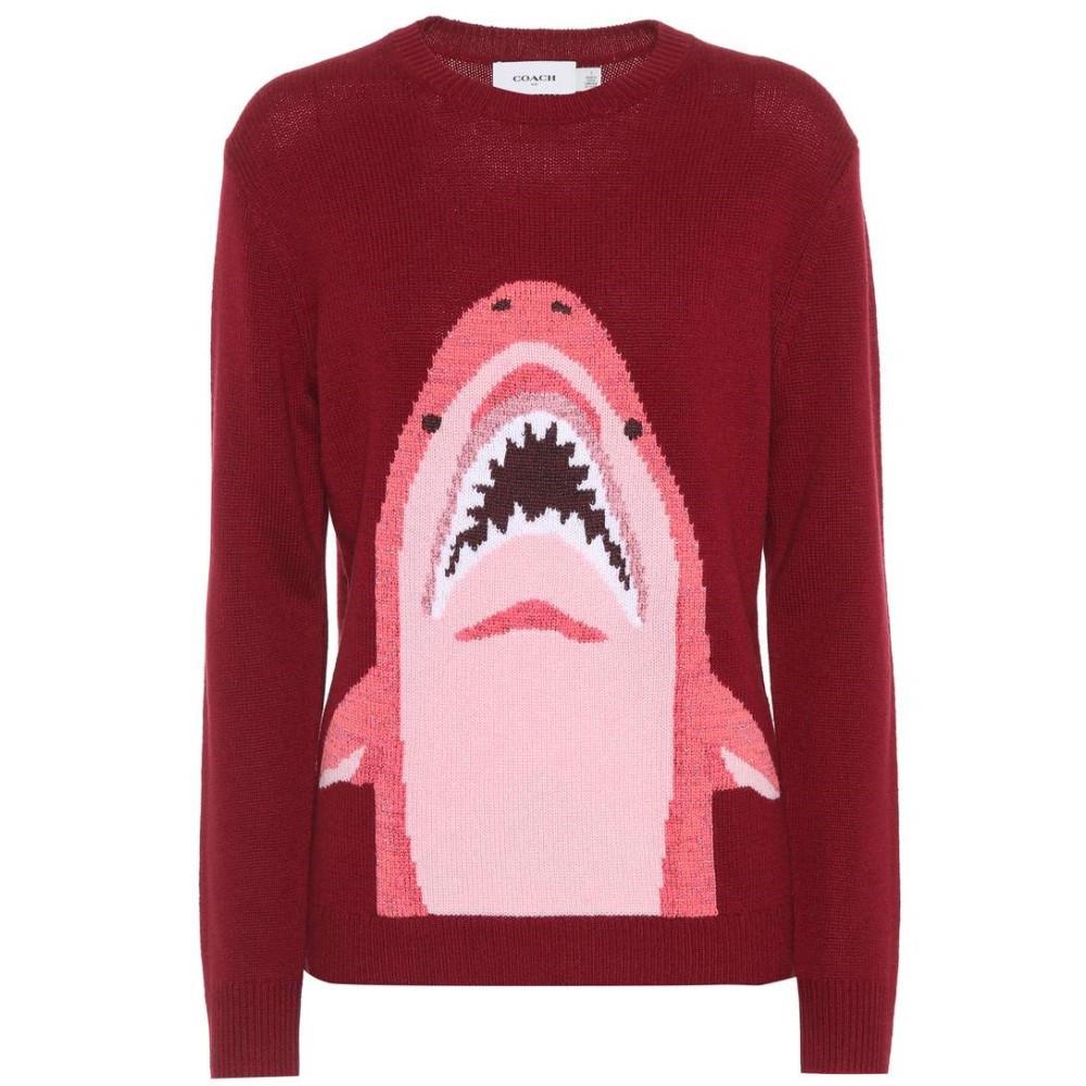 コーチ レディース トップス ニット・セーター【Sharky wool and cashmere sweater】Burgundy