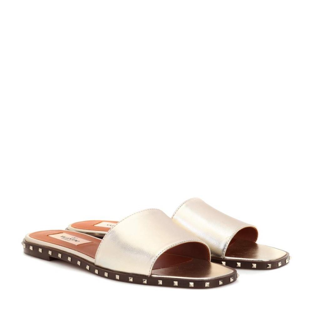 ヴァレンティノ レディース シューズ・靴 サンダル・ミュール【Valentino Garavani Soul Rockstud leather slides】Platino
