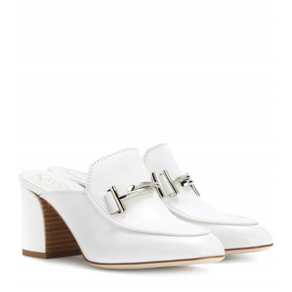 トッズ レディース シューズ・靴 サンダル・ミュール【Double T leather mules】White