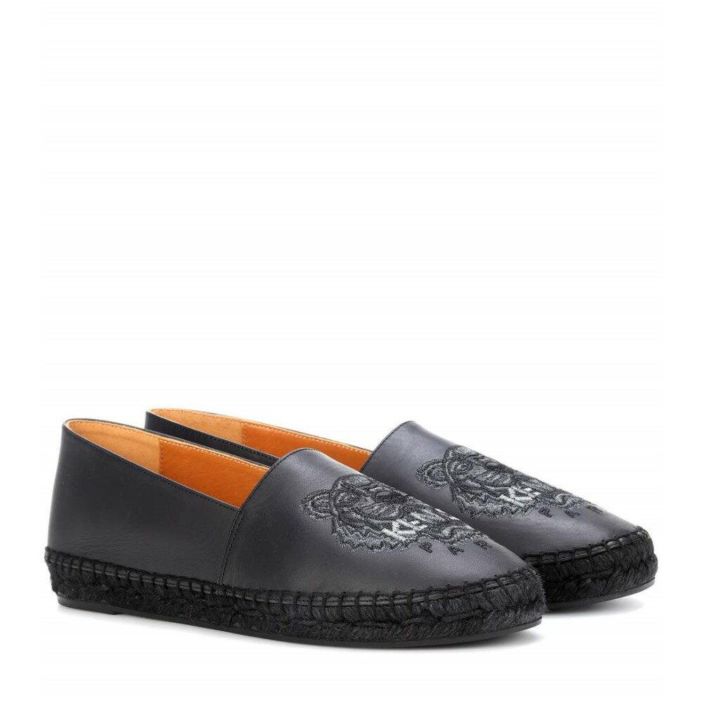 ケンゾー レディース シューズ・靴 エスパドリーユ【Embroidered leather espadrilles】Black