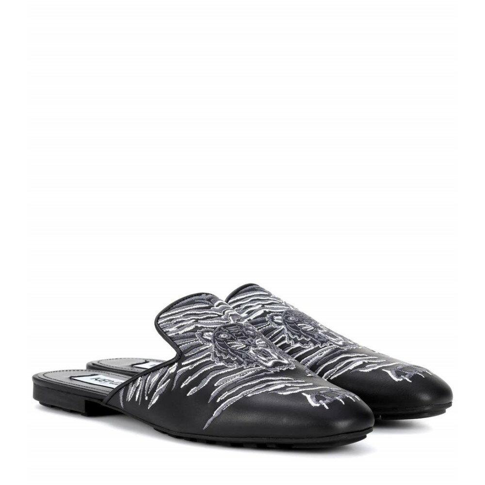 ケンゾー レディース シューズ・靴 スリッパ【Embroidered leather slippers】Black