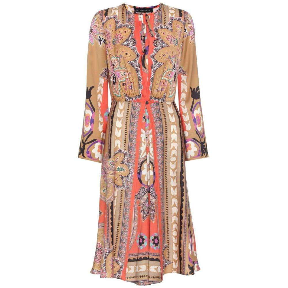 エトロ レディース ワンピース・ドレス ワンピース【Printed wool dress】Light Brown Multicolor