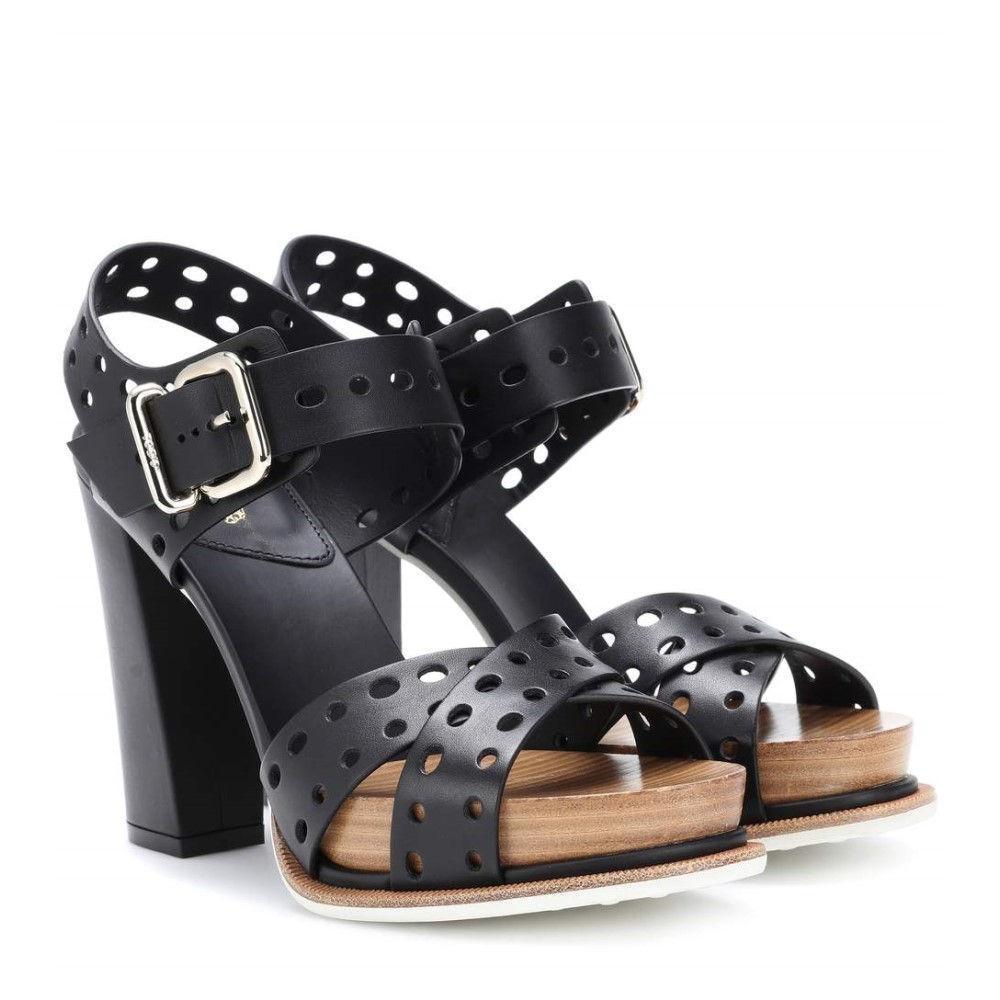 トッズ レディース シューズ・靴 サンダル・ミュール【Plateau leather sandals】Black