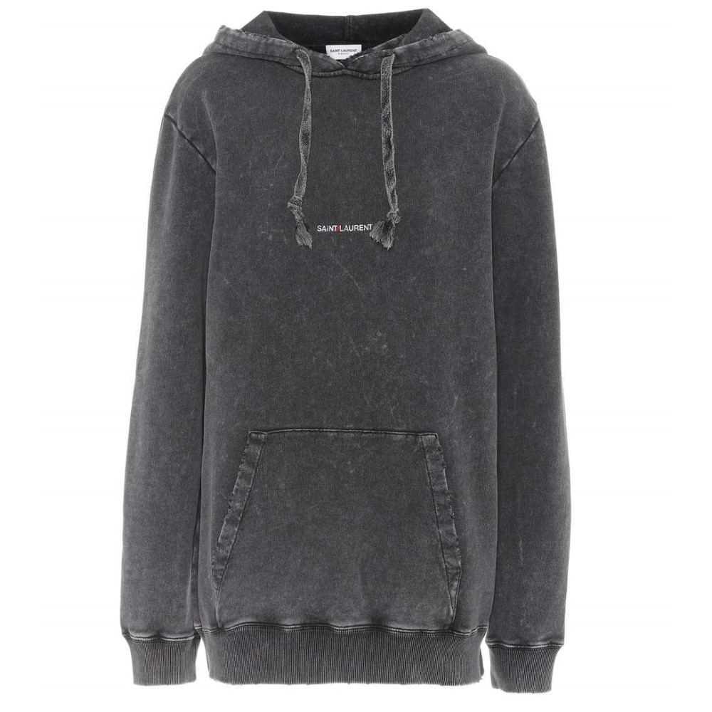 イヴ サンローラン レディース トップス パーカー【Cotton hoodie】Washed Black