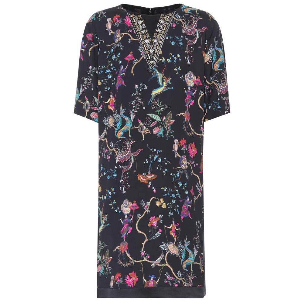 エトロ レディース ワンピース・ドレス ワンピース【Embroidered printed dress】Black/Multicolor