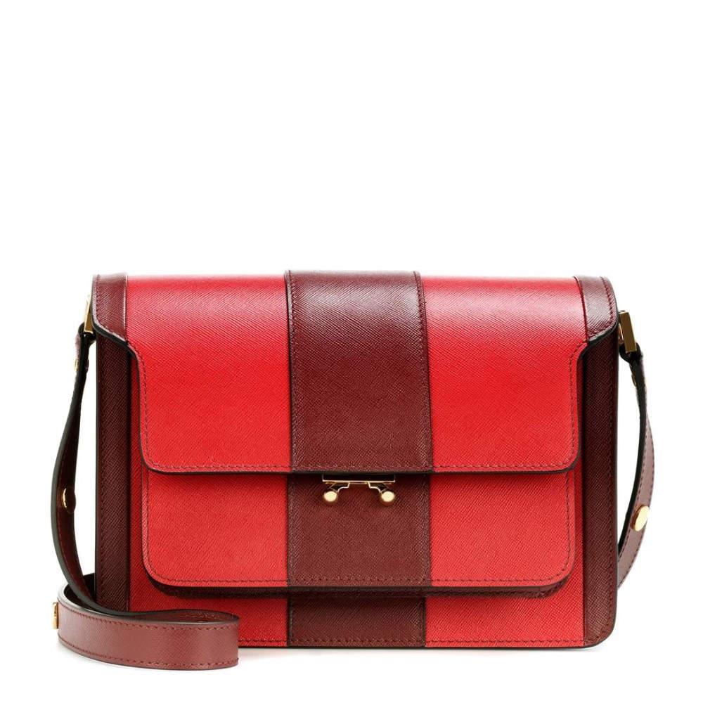 マルニ レディース バッグ ショルダーバッグ【Trunk leather shoulder bag】Hot Red/Ruby/Gold Brown