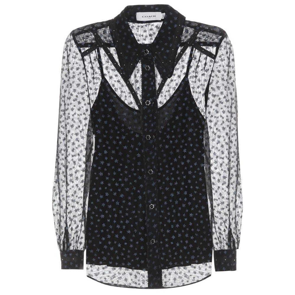 コーチ レディース トップス ブラウス・シャツ【Star-printed georgette blouse】Navy
