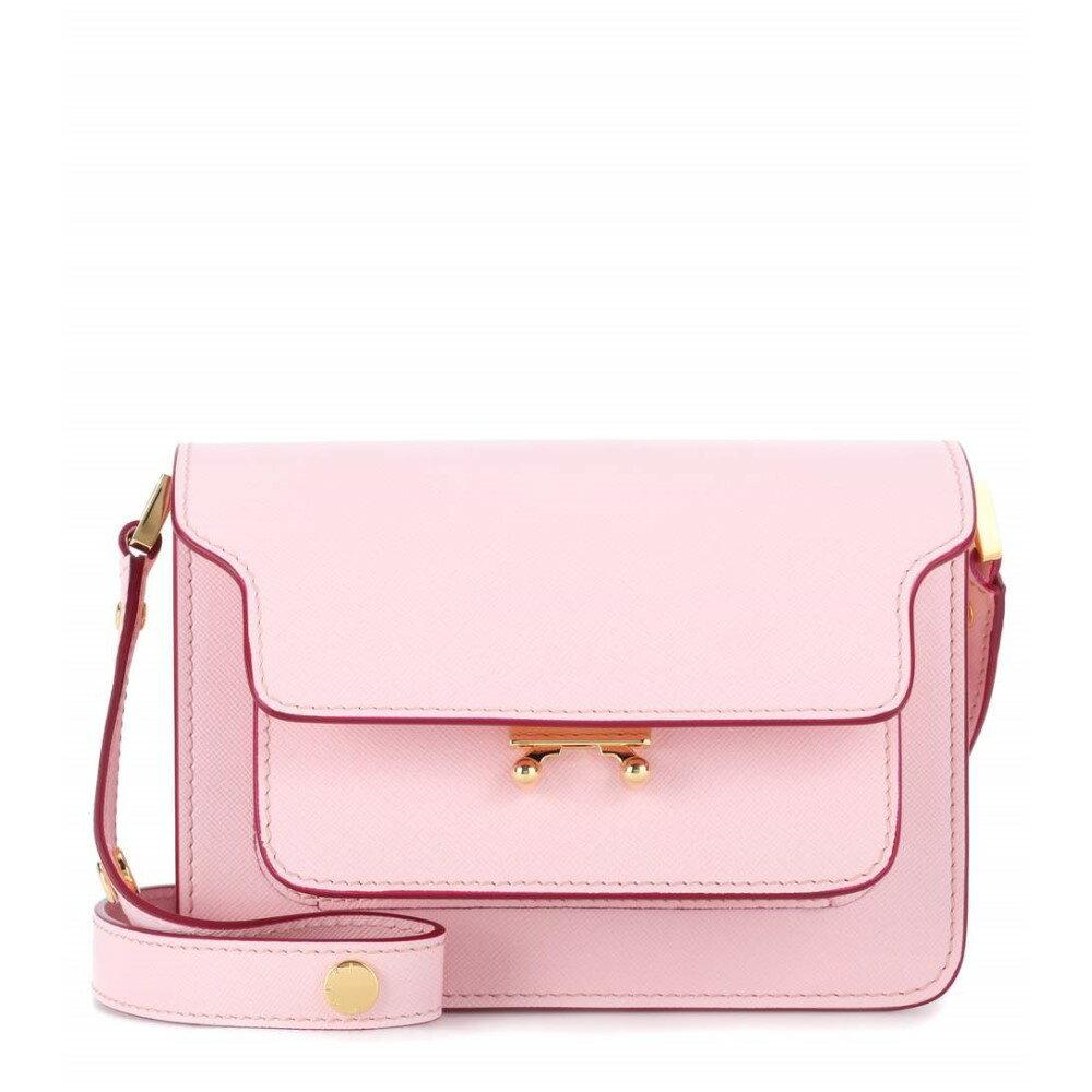 マルニ レディース バッグ ショルダーバッグ【Trunk Mini leather shoulder bag】Cinder Rose+Burgundy