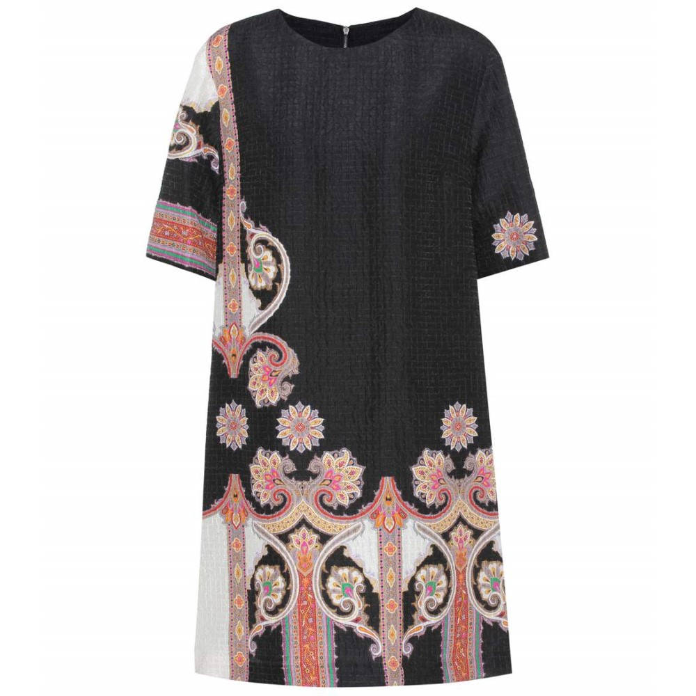 エトロ レディース ワンピース・ドレス ワンピース【Printed silk-blend dress】Black/Multicolor