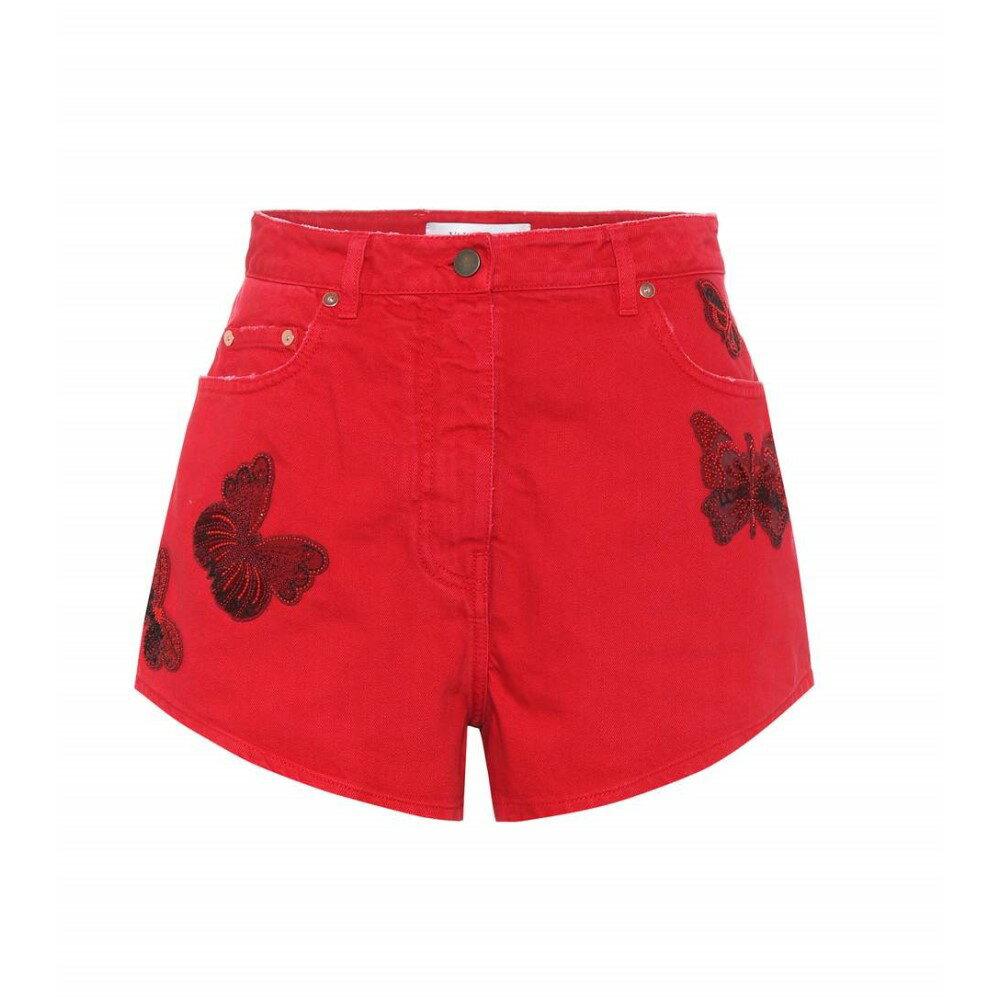 ヴァレンティノ レディース ボトムス・パンツ ショートパンツ【Embroidered cotton-denim shorts】Hot Red
