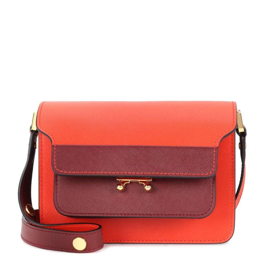 マルニ レディース バッグ ショルダーバッグ【Trunk Mini leather shoulder bag】Alkekengi/Ruby
