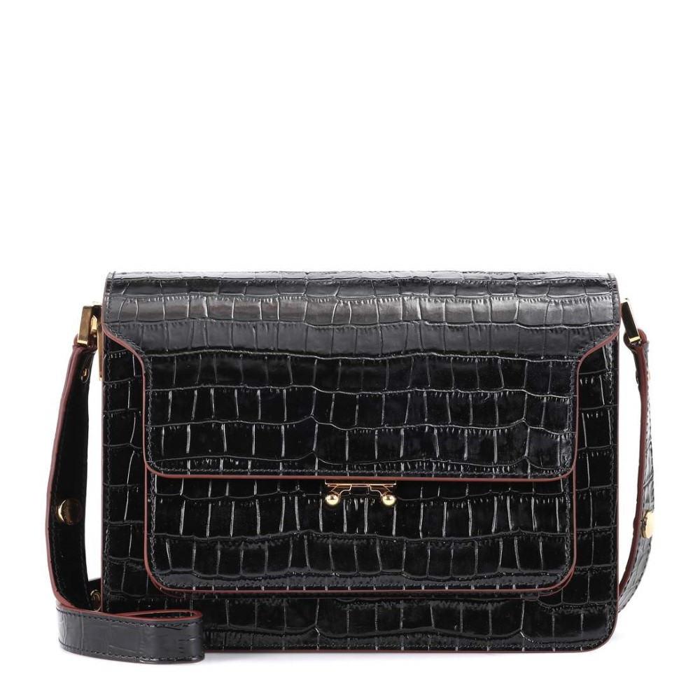 マルニ レディース バッグ ショルダーバッグ【Trunk embossed leather shoulder bag】Black(+Burgundy)