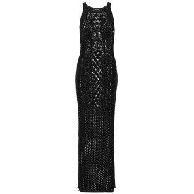 バルマン レディース ワンピース・ドレス ワンピース【Crocheted cotton maxi dress】Noir