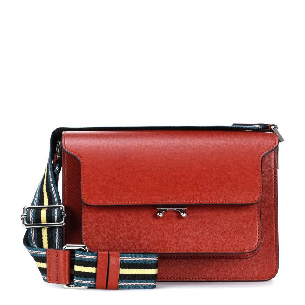 マルニ レディース バッグ ショルダーバッグ【Trunk leather shoulder bag】Brick/Citrus
