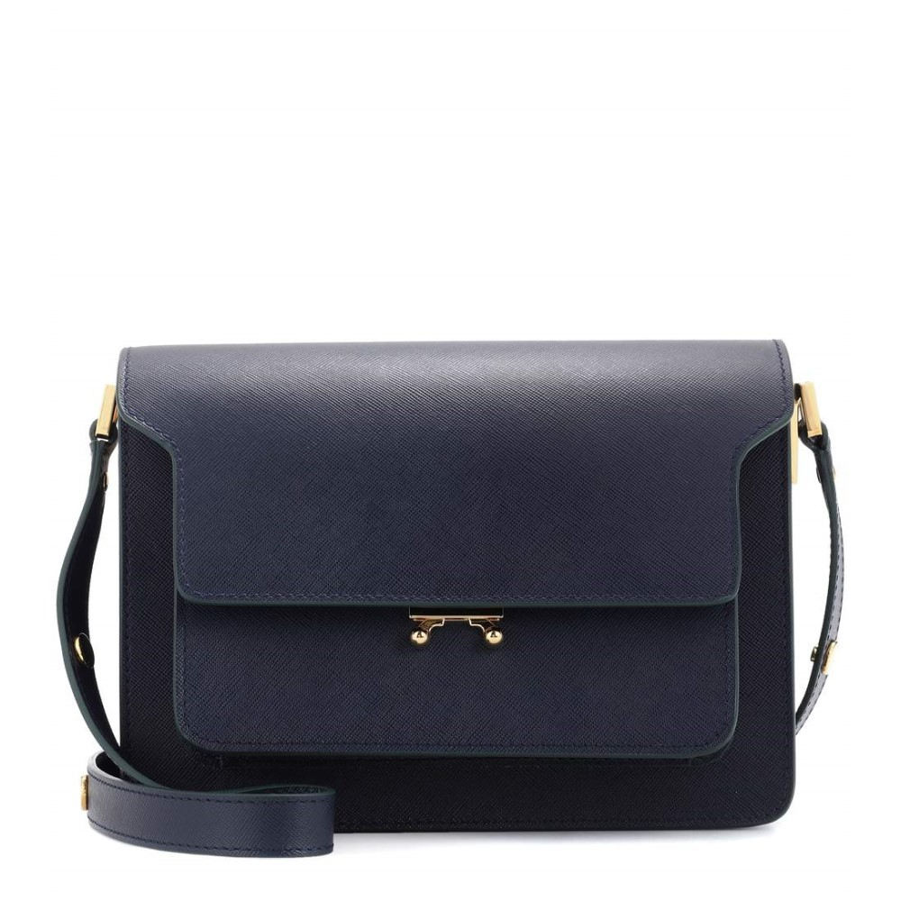 マルニ レディース バッグ ショルダーバッグ【Trunk leather shoulder bag】Night Blue/Gold Brown