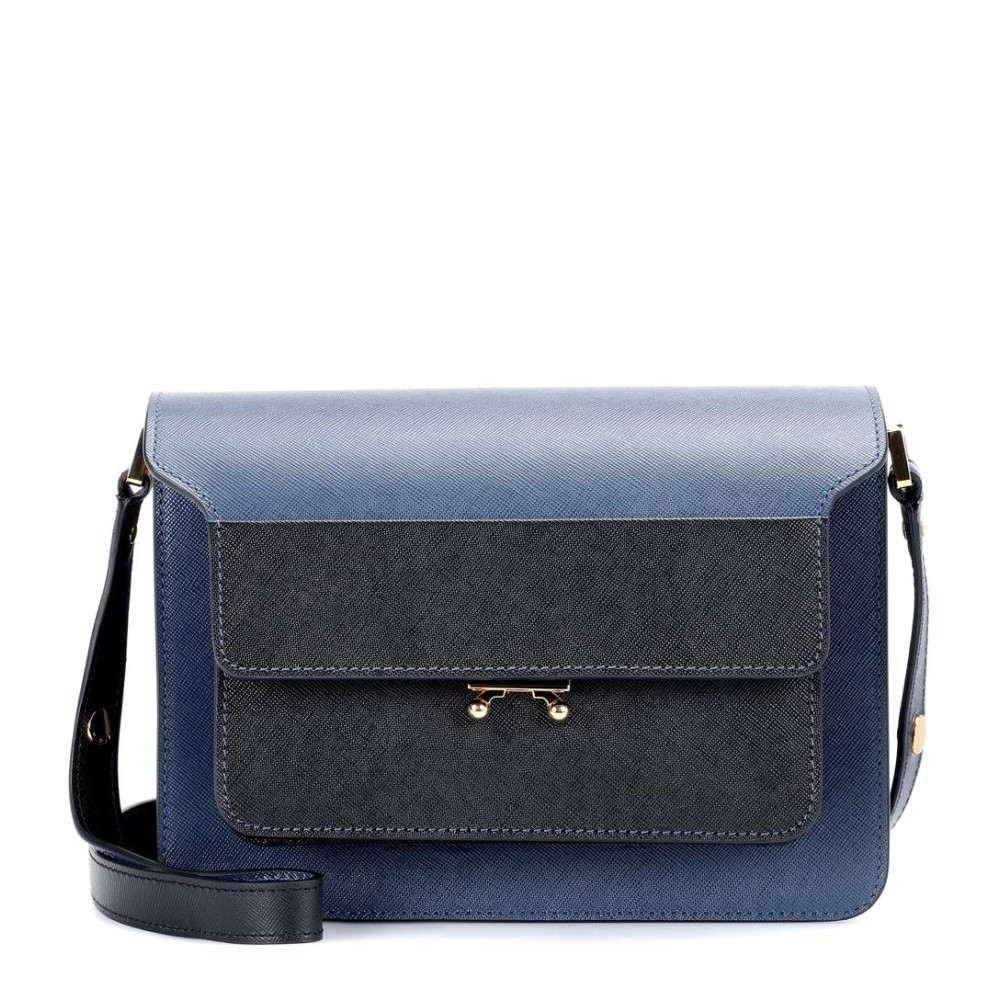 マルニ レディース バッグ ショルダーバッグ【Trunk leather shoulder bag】Orion Blue/Black