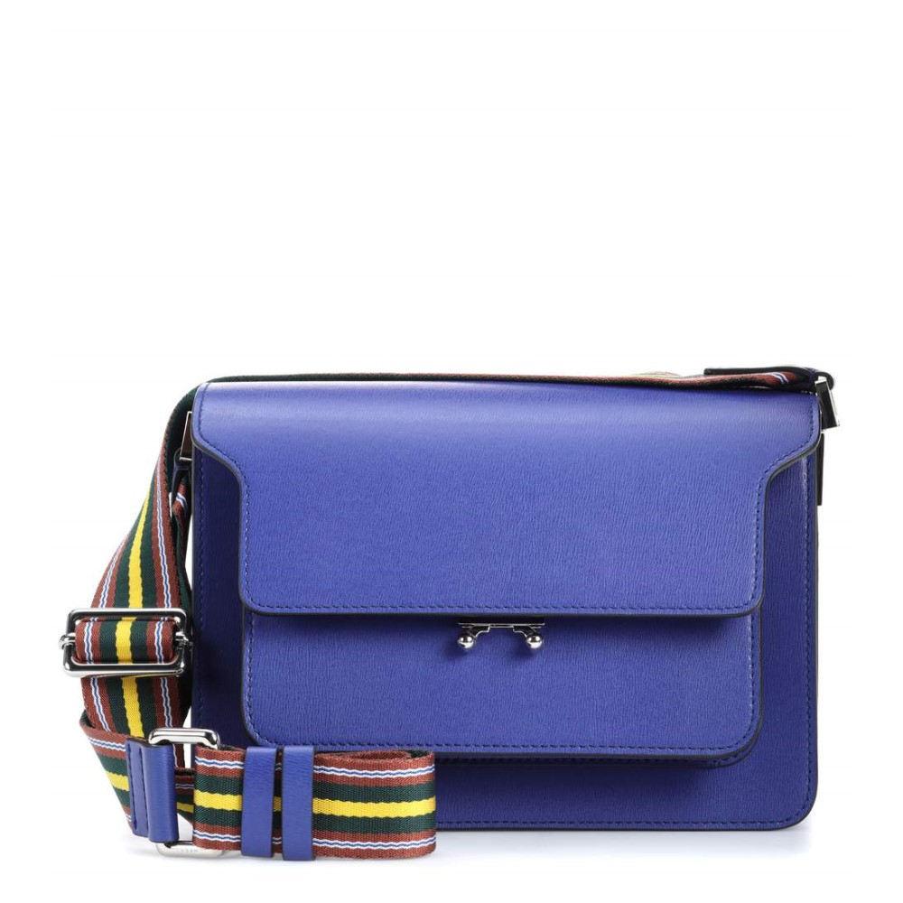 マルニ レディース バッグ ショルダーバッグ【Trunk leather shoulder bag】Bluette/Lemmon