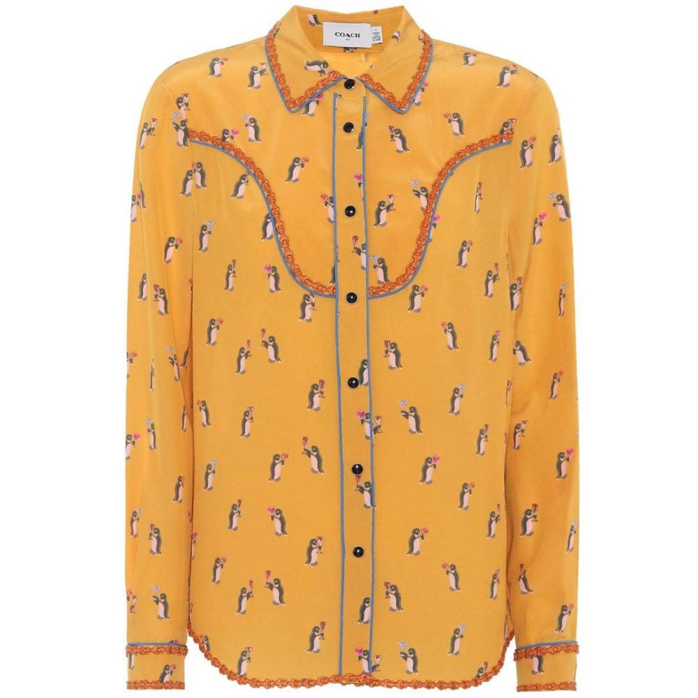 コーチ レディース トップス ブラウス・シャツ【Penguin printed silk shirt】Yellow