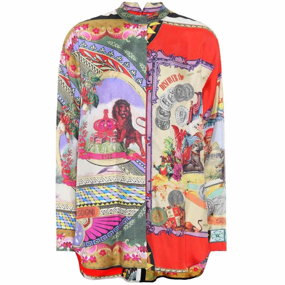 エトロ レディース トップス ブラウス・シャツ【Printed silk blouse】Red Multicolor