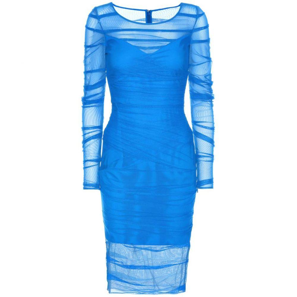ヴェルサーチ レディース ワンピース・ドレス ワンピース【Ruched mesh dress】Bluette