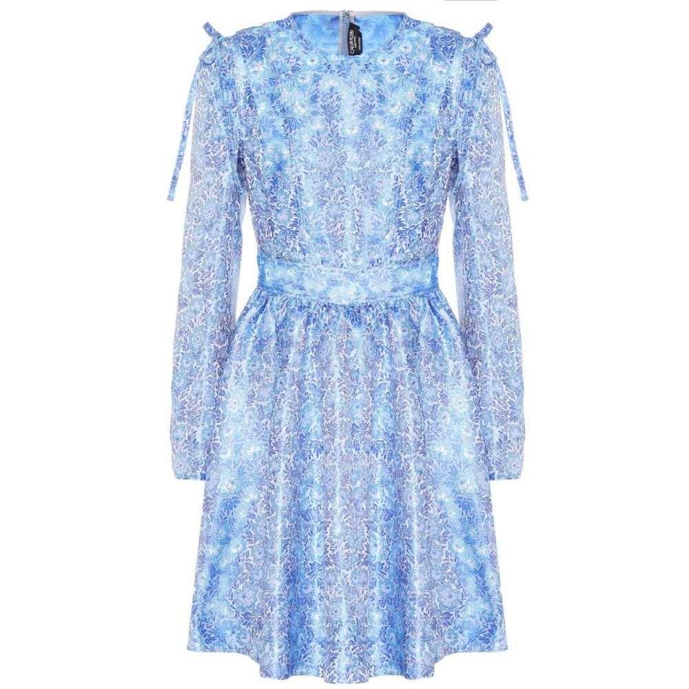 カルバンクライン レディース ワンピース・ドレス ワンピース【Printed silk minidress】Royal Electric Blue