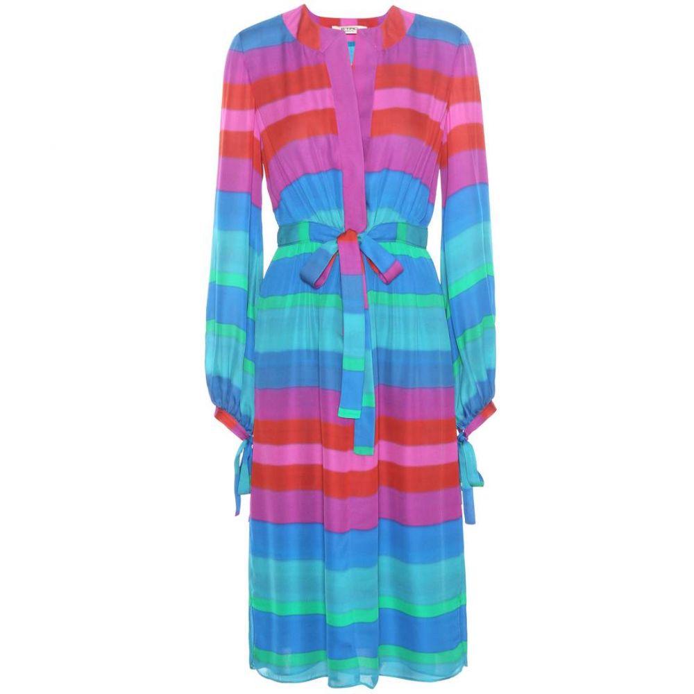 エトロ レディース ワンピース・ドレス ワンピース【Striped silk dress】