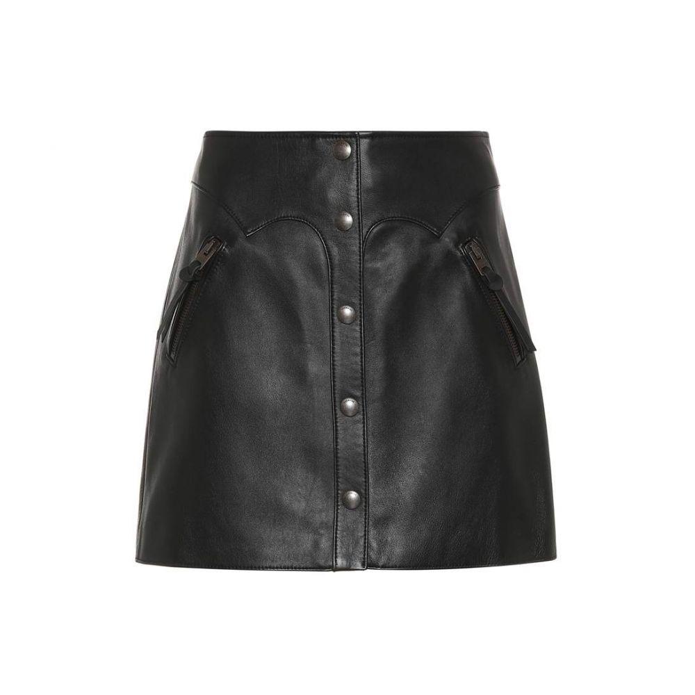 コーチ レディース スカート ミニスカート【Snap-front leather miniskirt】Black