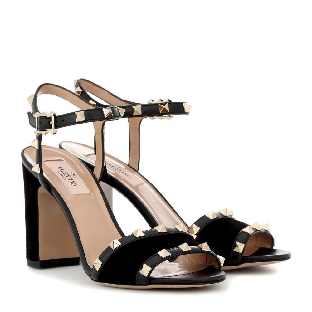 ヴァレンティノ レディース シューズ・靴 サンダル・ミュール【Valentino Garavani Rockstud suede sandals】Black
