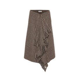バレンシアガ レディース スカート ひざ丈スカート【Checked wool skirt】Camel/Brown