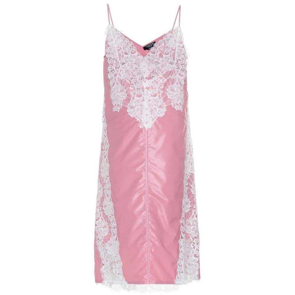 カルバンクライン レディース ワンピース・ドレス ワンピース【Lace-paneled slip dress】Amaranth Pink