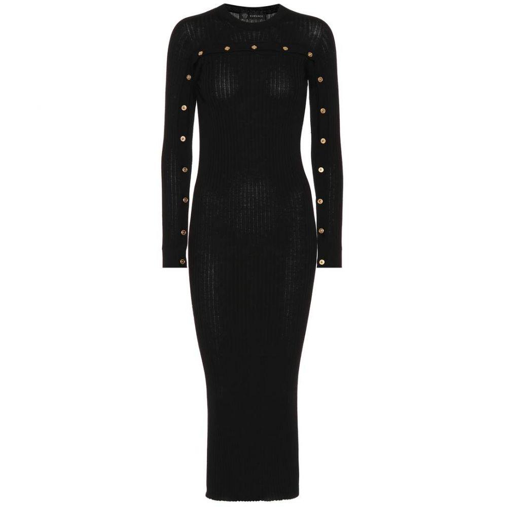 ヴェルサーチ レディース ワンピース・ドレス ワンピース【Ribbed wool dress】Black