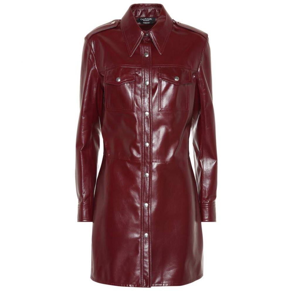 カルバンクライン レディース ワンピース・ドレス ワンピース【Leather shirt dress】Mulberry