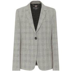 サルヴァトーレ フェラガモ レディース アウター スーツ・ジャケット【Checked wool blazer】Bianco/Nero