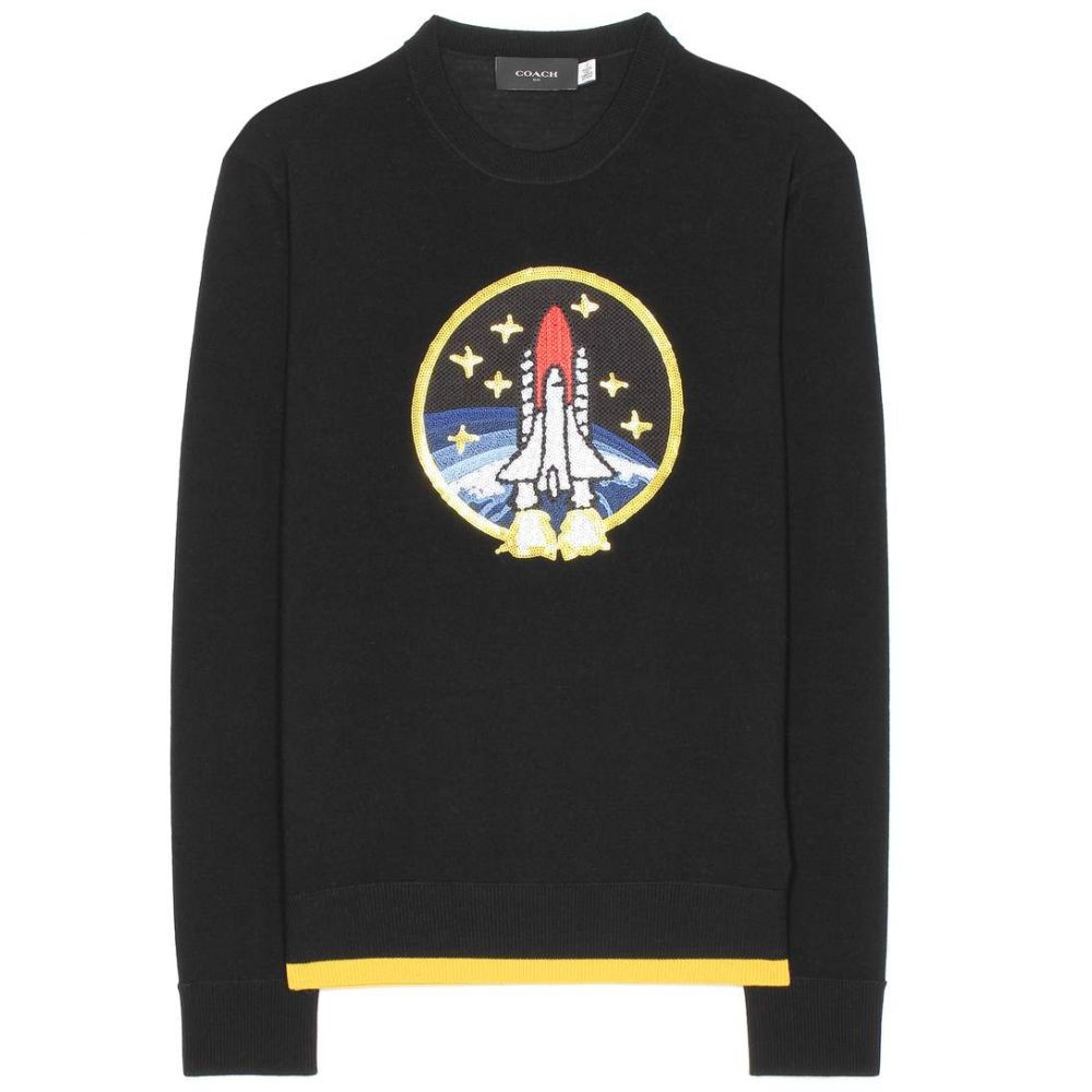 コーチ レディース トップス ニット・セーター【Rocket Shuttle embellished wool sweater】Black/Yellow