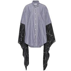 バレンシアガ Balenciaga レディース トップス ブラウス・シャツ【Kimono-sleeve cotton shirt】Navy/White