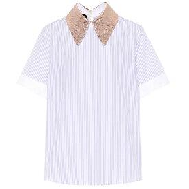 ロシャス Rochas レディース トップス【Brocade-trimmed striped cotton top】Light/Pastel Blue