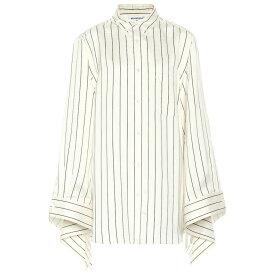 バレンシアガ Balenciaga レディース トップス ブラウス・シャツ【Striped silk shirt】Ivory Navy