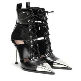 アレキサンダー マックイーン Alexander McQueen レディース シューズ・靴 ブーツ【Lace-up leather boots】Black/Silver