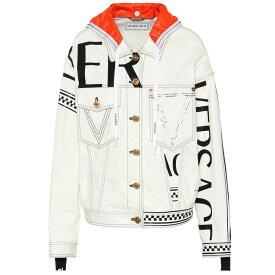 ヴェルサーチ Versace レディース アウター ジャケット【Printed denim jacket】Bianco-Arancio