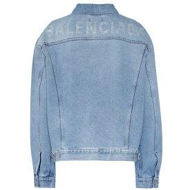 バレンシアガ Balenciaga レディース アウター ジャケット【Logo embellished denim jacket】Dirty Light Blue