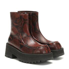 マルニ Marni レディース シューズ・靴 ブーツ【Snake-effect leather ankle boots】