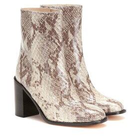 マリアム ナッシアー ザデー Maryam Nassir Zadeh レディース シューズ・靴 ブーツ【Mars snake-effect leather ankle boots】Stone Snake