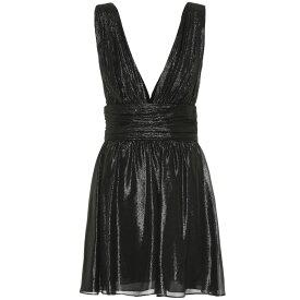 イヴ サンローラン Saint Laurent レディース ワンピース・ドレス パーティードレス【Metallic silk-blend minidress】Noir