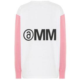 メゾン マルジェラ MM6 Maison Margiela レディース トップス スウェット・トレーナー【Wool-trimmed cotton sweatshirt】Pink