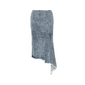 バレンシアガ Balenciaga レディース スカート ひざ丈スカート【Asymmetric denim midi skirt】Crinkle Wash