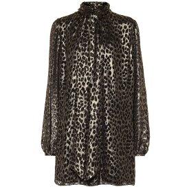 イヴ サンローラン Saint Laurent レディース ワンピース ワンピース・ドレス【Leopard-brocade minidress】Noir or Metal