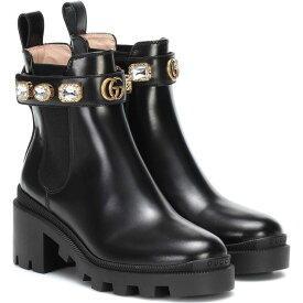 グッチ Gucci レディース ブーツ ショートブーツ シューズ・靴【Trip leather ankle boots】Noir
