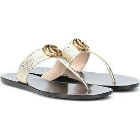 グッチ Gucci レディース サンダル・ミュール シューズ・靴【Marmont leather thong sandals】Platino Platino